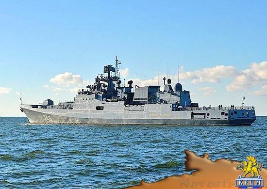 Фрегат «Адмирал Григорович» выполняет артиллерийские стрельбы в море - «Армия и флот»