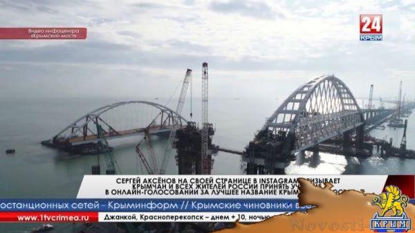 Сергей Аксёнов на своей странице в Instagram призывает крымчан и всех жителей России принять участие в онлайн-голосовании за лучшее название Крымского моста  - (видео)