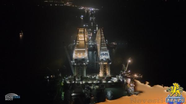 Появилось ночное фото арок Керченского моста - «Керчь»