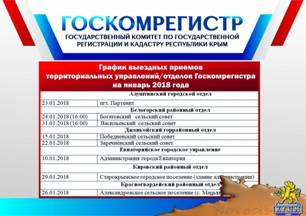 В январе 2018 года специалисты Госкомрегистра проведут 23 выездных приема граждан  - «Экономика»